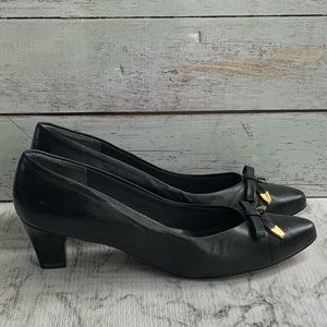 Selby Vintage Black Leather Heel Shoes